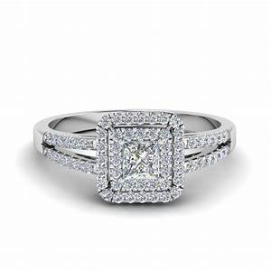 Princess cut french pave double halo diamond engagement for Dimond wedding ring