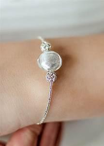 bracelet de mariee avec perle en verre de murano argente With bracelet de mariage