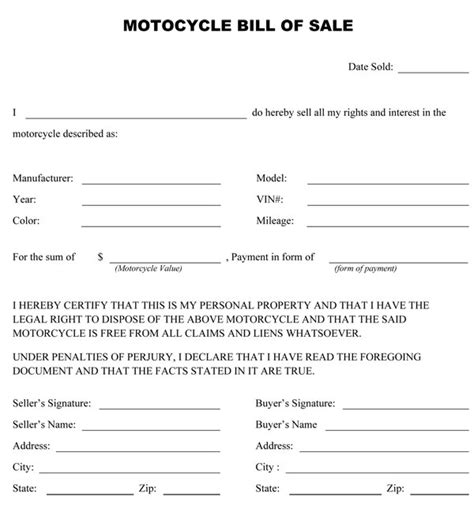 bill ofsale free printable motorcycle bill of sale form generic