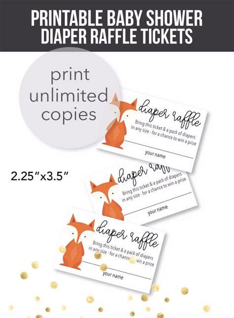 printable woodland fox diaper raffle  print  baby