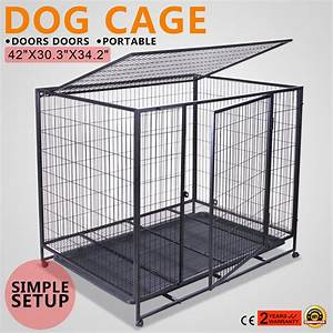 42quot dog crate kennel pet cage carrier box 2 door car With dog crate or kennel