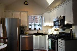 white upper cabinets gray lower cabinets transitional With best brand of paint for kitchen cabinets with horses wall art