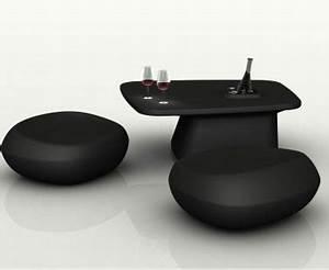 Table Basse Balcon : salon de jardin design pouf galet table basse noir ~ Teatrodelosmanantiales.com Idées de Décoration