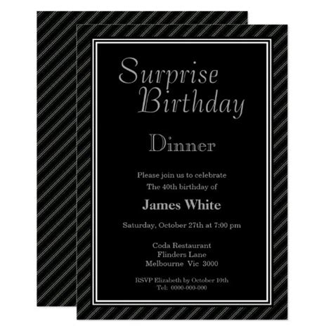 Modern Black & White Surprise 40th Birthday Dinner