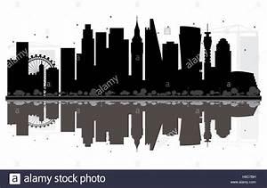 London Skyline Schwarz Weiß : london city skyline schwarz wei silhouette mit reflexionen vektor illustration einfache ~ Watch28wear.com Haus und Dekorationen