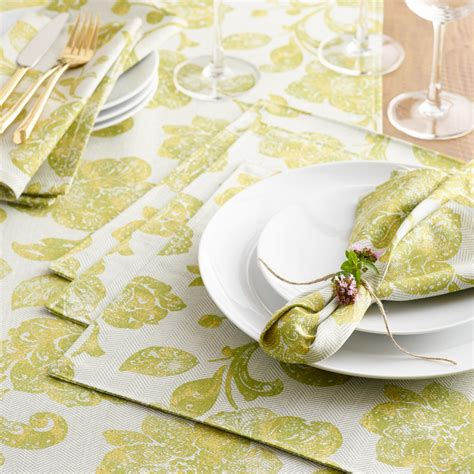 world market table linens green ressika floral table linen collection world market