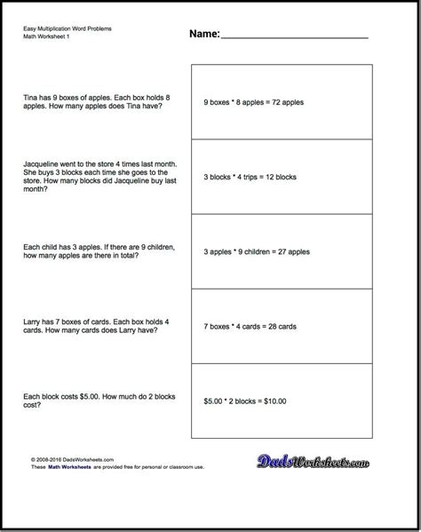 free printable math word problem worksheets for