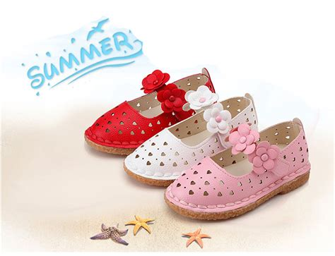 Cute Kids Baby Girls Floral Hollow Sandals Faux Leather