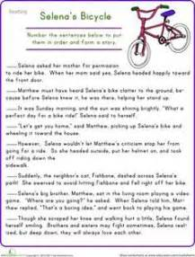 story sequencing selenas bicycle sequencing worksheets