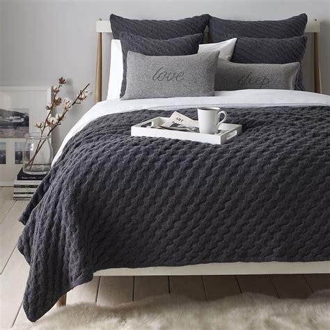 pembrooke bedspread  charcoal grey wool   white