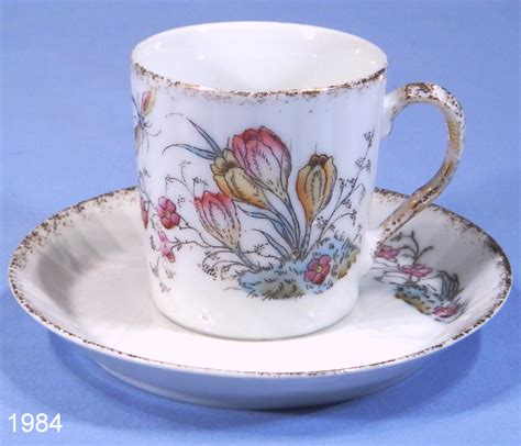 Antique porcelain tea cup and saucer set manufactured by vista alegre. French Crocus Vintage Porcelain Coffee Cup and Saucer - SOLD: Collectable-China