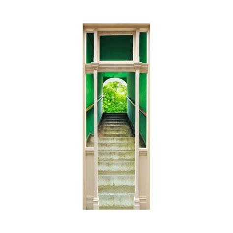 trompe l oeil escalier stickers trompe l oeil porte escalier vert tatoutex stickers