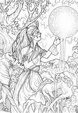 Coloring Pages Adult Adults Colouring Pagan Fairy Complex Moon Books Grown Ups Called Million Goddess Bing Kickstarter Clean Complicated Anime sketch template