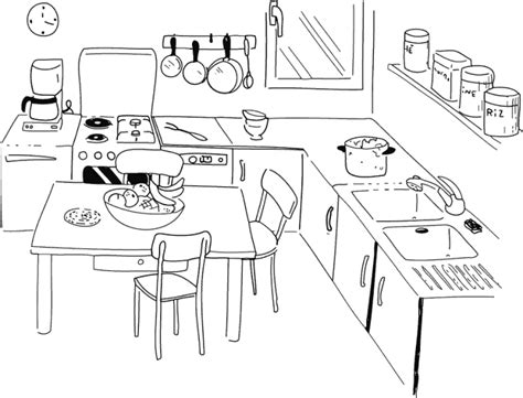 dessin d une cuisine dididou coloriage la cuisine page 3