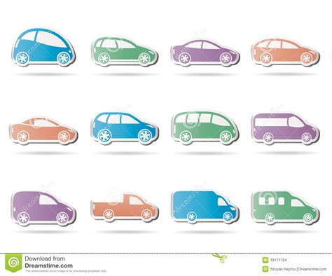 Different Types Of Cars Icons Stock Images