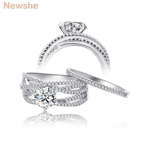 newshe wedding rings for solid 925 sterling silver jewelry engagement band trendy design