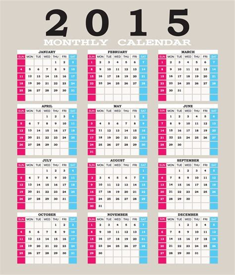 2015 grid calendar creative design vector 03 vector calendar vector festival free download