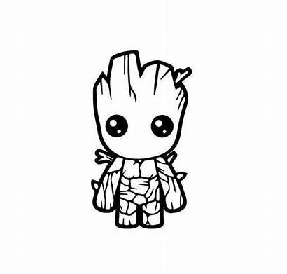 Guardians Galaxy Silhouette Groot Coloring Pages Decal