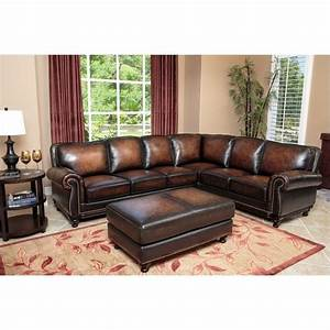 abbyson living nizza woodtrim 3 piece leather sectional With 3 pieces sectional sofa set