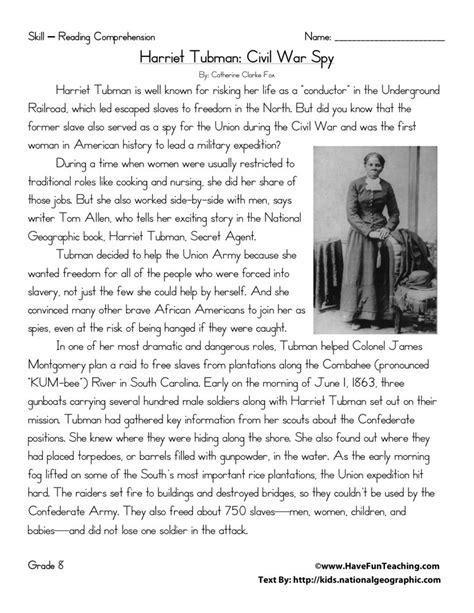 Reading Comprehension Worksheet  Harriet Tubman Civil War Spy