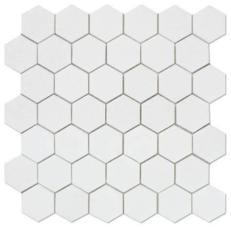 thassos white marble honed 2 quot hexagon mosaic tile mosaic tile by oracle tile and