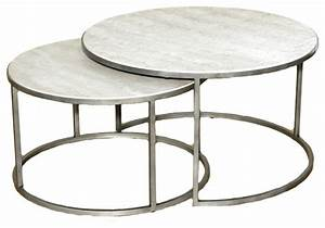 hammary silver metal round nesting coffee tables With round stacking coffee table