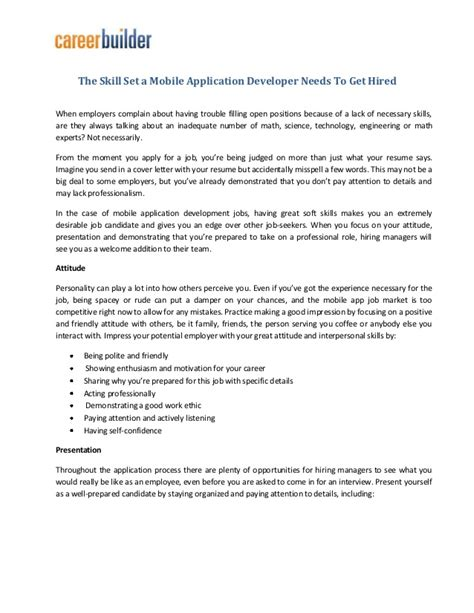 Mobile Application Developer Resume by The Skill Set A Mobile Application Developer Needs To Get Hired