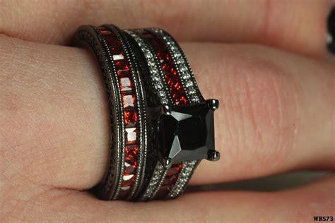 Lovely Womens Black Rhodium Red Black White Stones