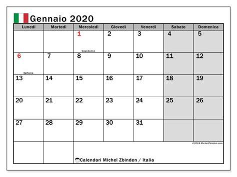 calendario gennaio  italia calendario stampabile
