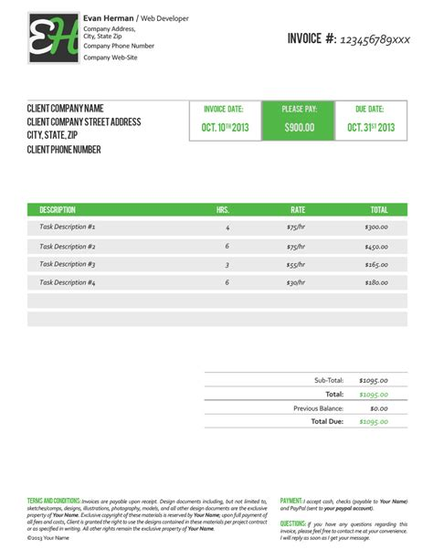 free invoice template www evan herman free psd invoice template