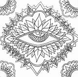 Coloring Pages Mandala Abstract Adult Eyes Sun Printable Colouring Print sketch template