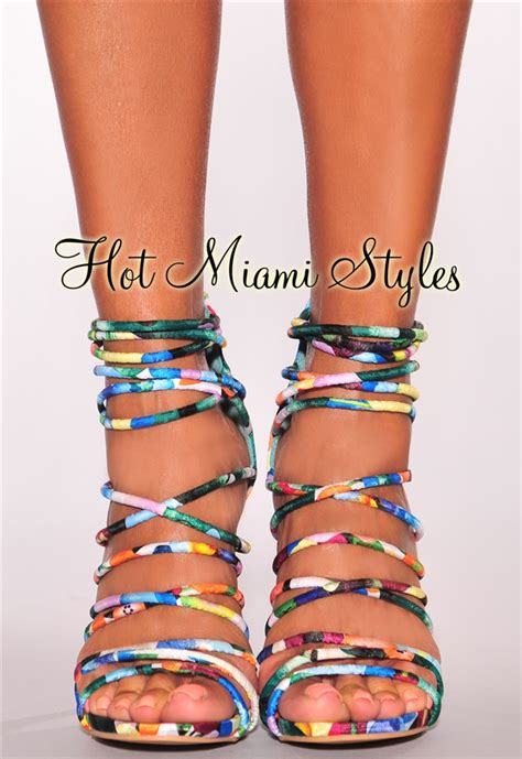 multi color strappy heels multi color floral print crisscross strappy high heels