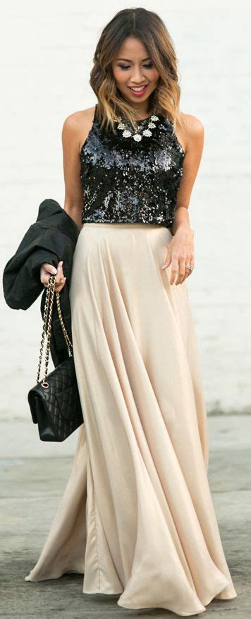 Lace And Locks Back Sequin Top Gold Maxi Skirt Fall Street