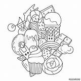 Coloring Ice Cream Doodle Cartoon Sweets Anime Cupcake Chibi Vector Clip Kawaii Pattern Rabbits Illustrations Yampuff Comp Contents Similar Cartoons sketch template