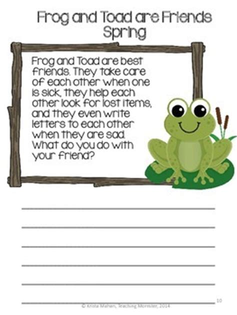 frog  toad  friends book report packet  krista