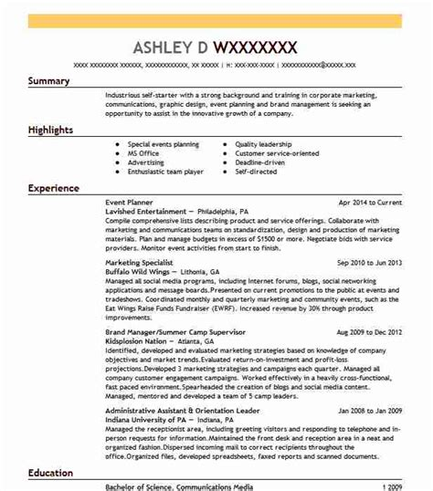 Event Planning Resume by Best Event Planner Resume Exle Livecareer