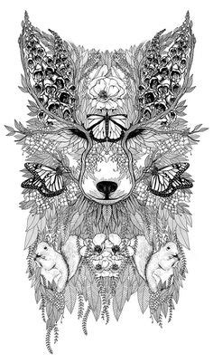 wolf mural kerby rosanes Doodle Coloring pages colouring adult detailed advanced printable