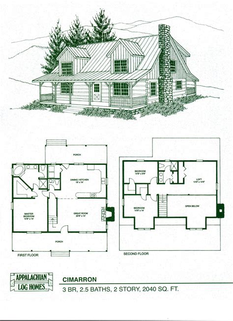 appalachian log homes  cimarron model  features