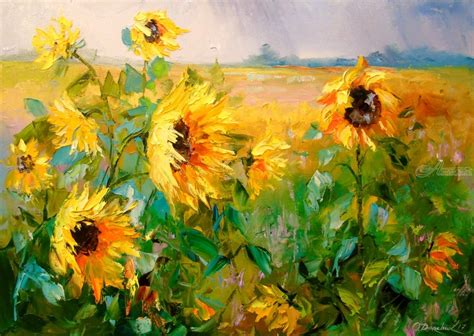 selling home interior products sunflowers in the wind paintings by olha darchuk artist com