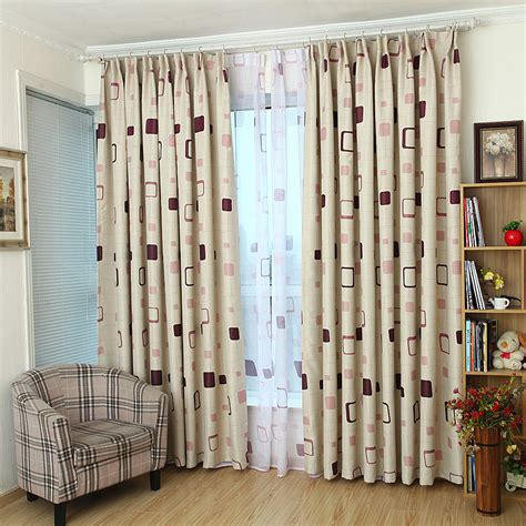 Bedroom Curtains On Sale by Beige Plaid Print Polyester Modern Bedroom Curtains