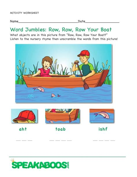 Row Your Boat Words by Stories For Browse Library Speakaboos