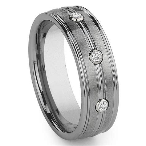 tungsten carbide  diamond wedding band ring