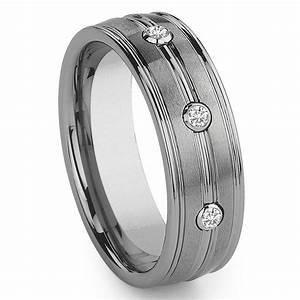 Tungsten Carbide 3 Diamond Wedding Band Ring