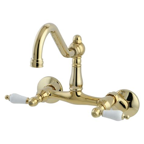kingston brass kitchen faucets kingston brass ks3222pl wall mount kitchen faucet with