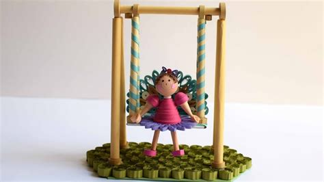 paper swing with quilling doll quilling show piece 3d quilling girl quilled swing my crafts and