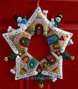 gingerbread wreath bucilla felt home decor kit 86677 fth international sales ltd