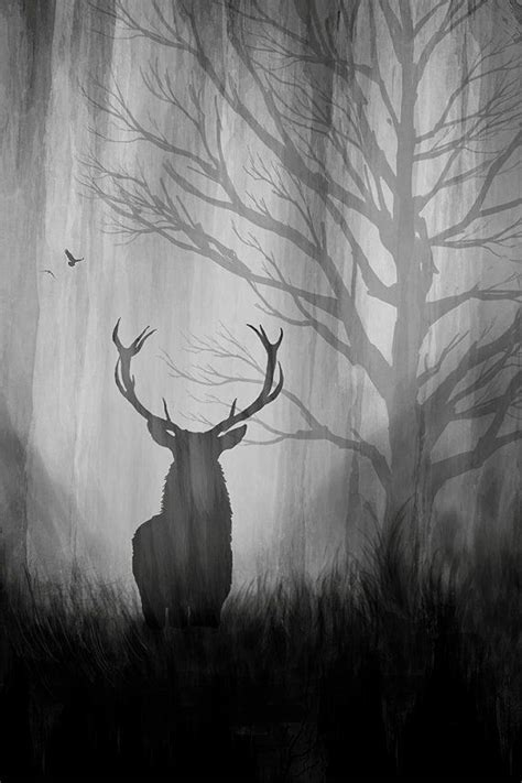 Art Print Metal Paper Deer Birds Forest