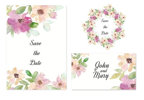 Free Vector Save The Date Invitation With Watercolor ...