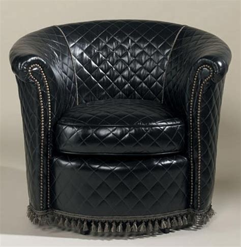 black and silver club chair swivel quilted black