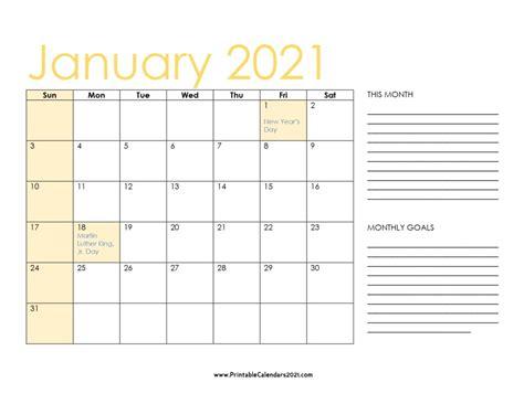 12+ Printable 2021 Calendar With Holidays  Pics